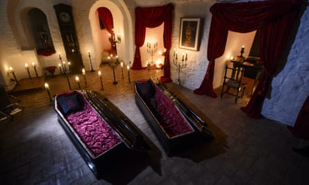 The two coffins in Bran Castle in Romania, where two siblings will spend the night on Halloween.