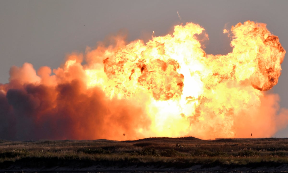 SpaceX Starship SN8 explodes on landing after test flight | SpaceX | The  Guardian