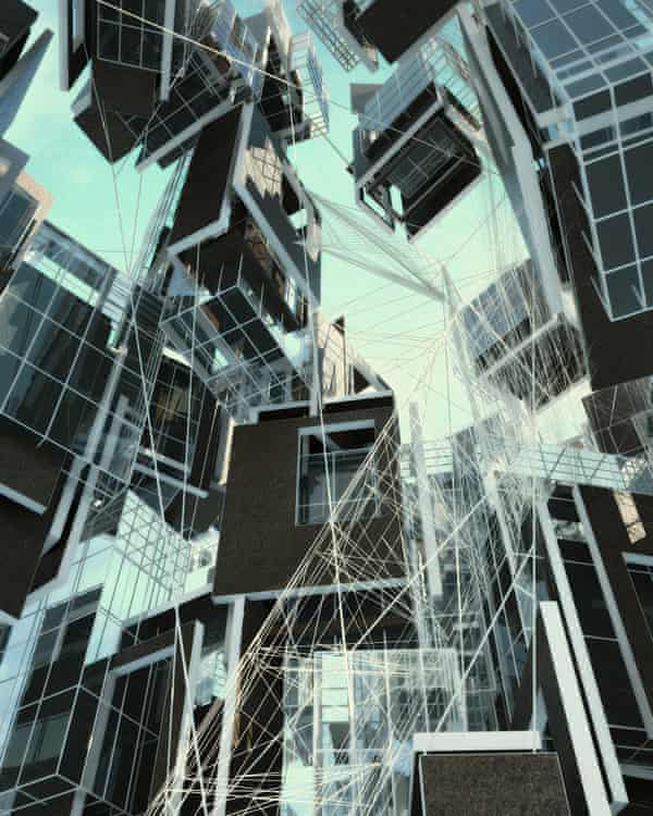 Spidey City – Ordinary Vis's visualisation of a gravity-defying city built from genetically engineered spider silk