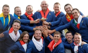 Bjørn and his European team after winning the Ryder Cup in September 2018.