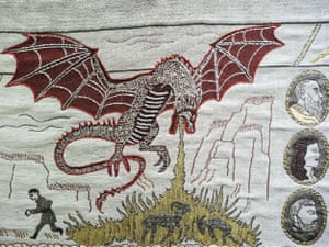 Normandy, France. A detail of the Game of Thrones tapestry is pictured in Bayeux