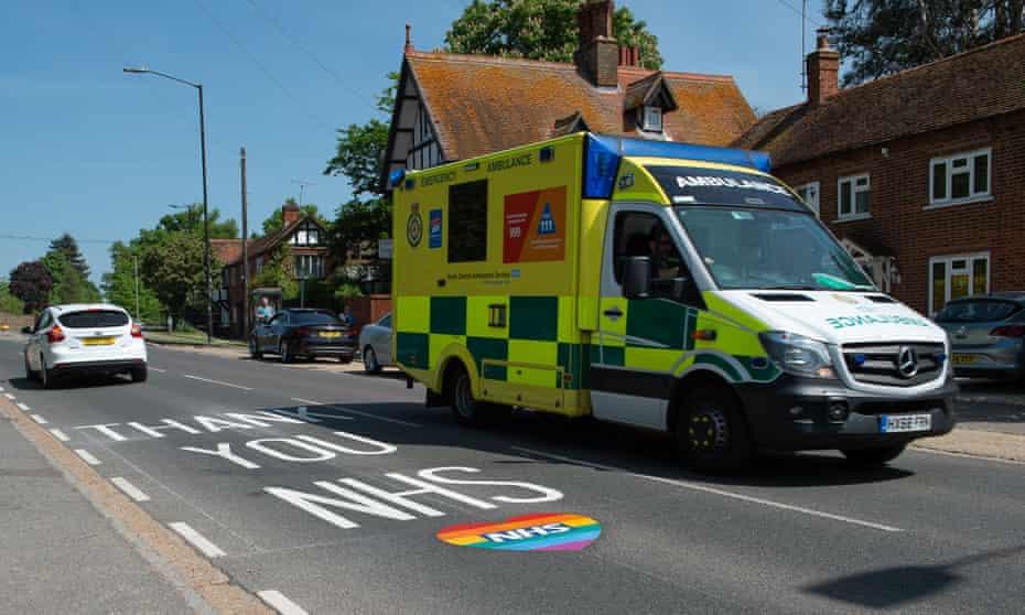 An emergency ambulance in Berkshire, UK