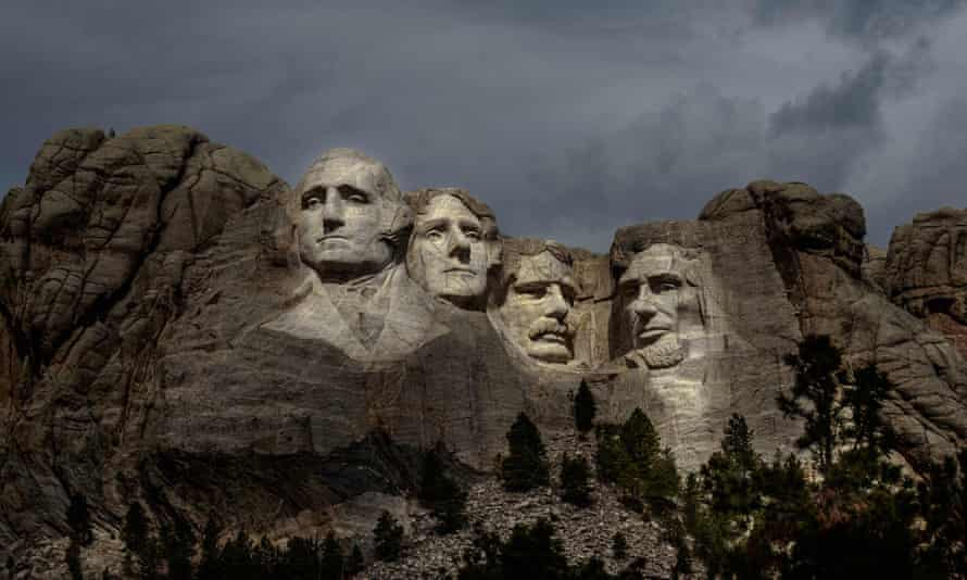 Mount Rushmore in South Dakota. 'Trump coming here is a safety concern not just for my people inside and outside the reservation, but for people in the Great Plains,' said the Oglala Sioux president. Julian Bear Runner.