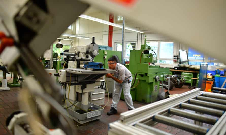 Syian refugee Alan Ramadan at a job training scheme  to be an industrial mechanic in Hanover, Germany.