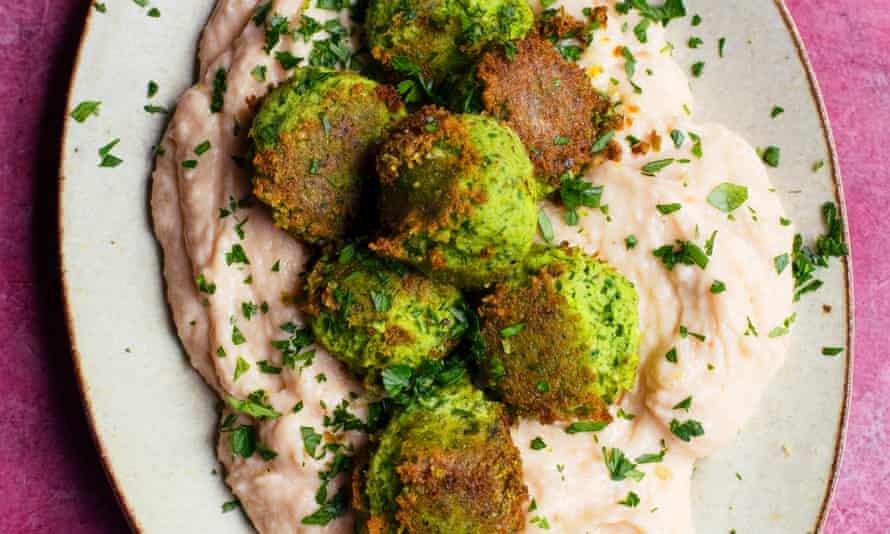 'Pop them from their papery skins before mashing': edamame fritters, smoked cod's roe cream.
