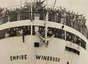 The Empire Windrush arrives from Jamaica in 1948.