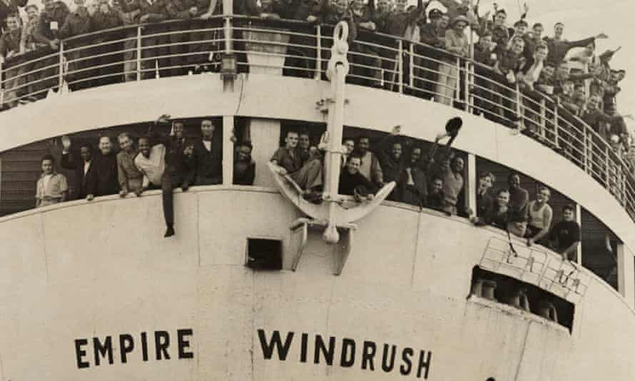 The Empire Windrush arriving from Jamaica in 1948.