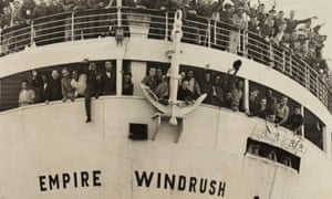 The Empire Windrush arriving from Jamaica in 1948