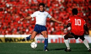 Paul Caligiuri goes for goal against Trinidad in November 1989.