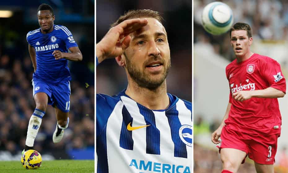 From left to right: Chelsea's Mikel John Obi; Brighton's Glenn Murray and Steve Finnan at Liverpool.