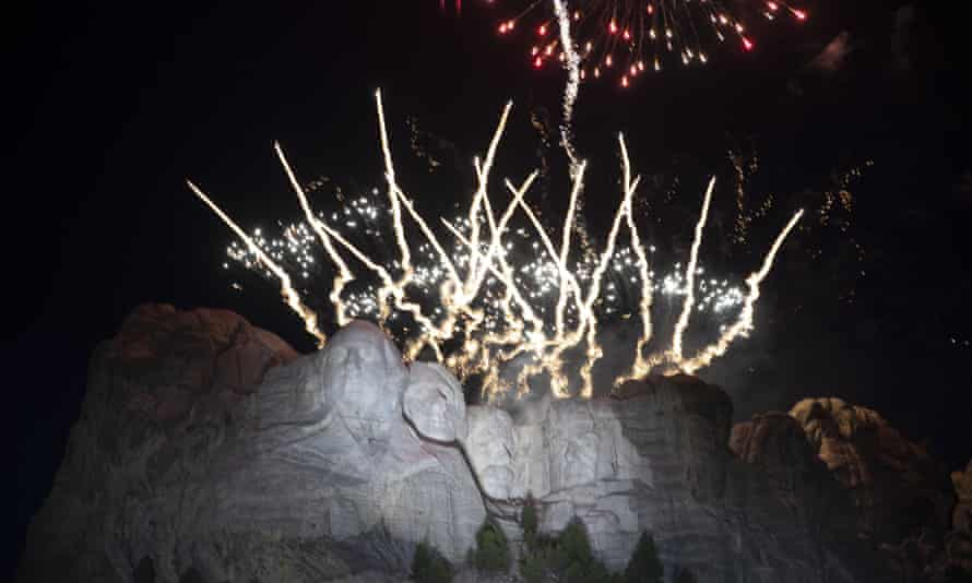 Fireworks light the sky at Mount Rushmore.