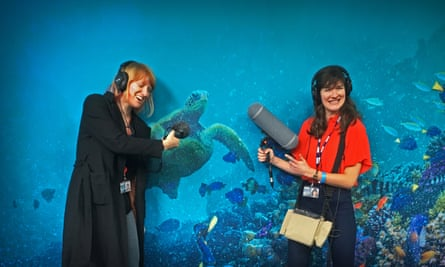 Blue Planet 2 podcast Emily and Becky with Turtle.