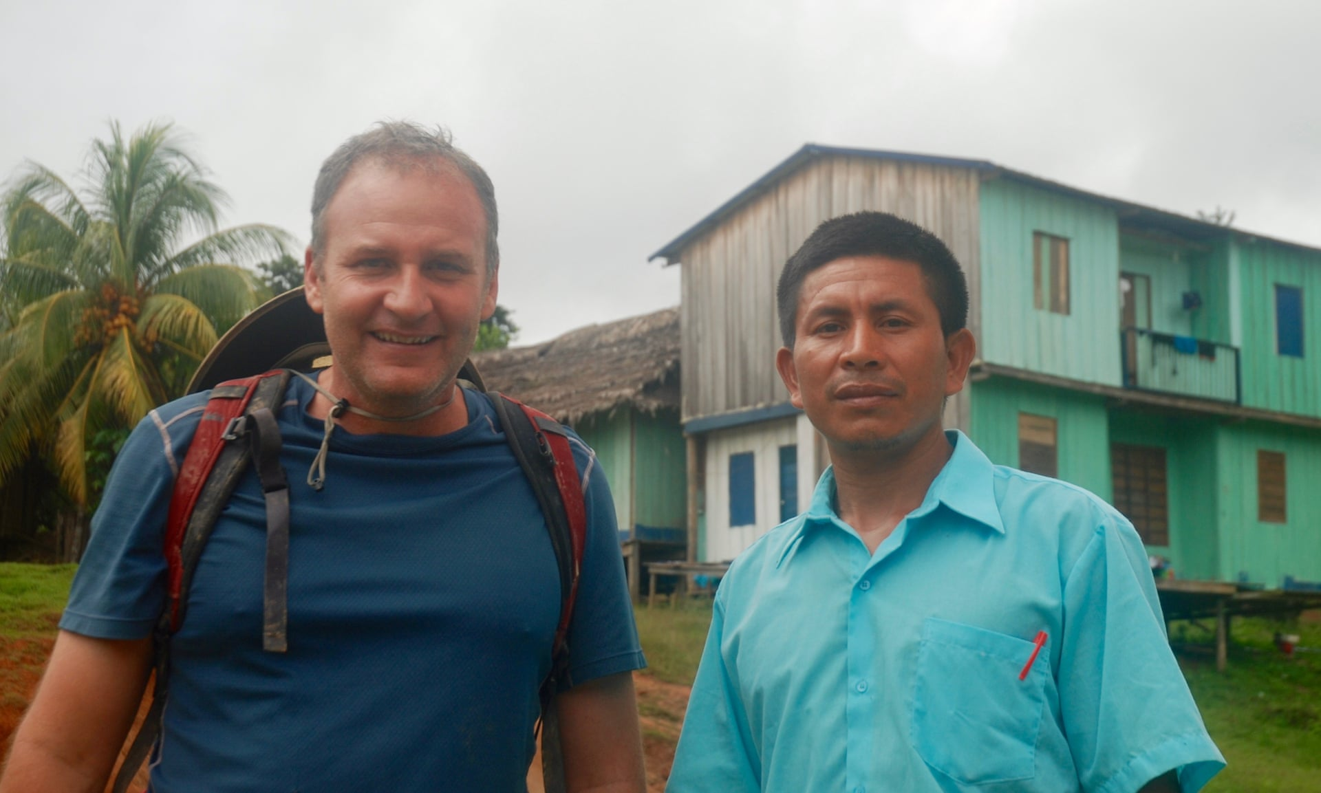 Acaté's director Bill Park with Matsés artist Guillermo Nëcca Pëmen Mënquë who, as part of another project with Acaté, has illustrated a 146-page children's book to improve literacy. Photograph: David Hill