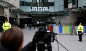 Photographer focuses on the front of Broadcasting House, London