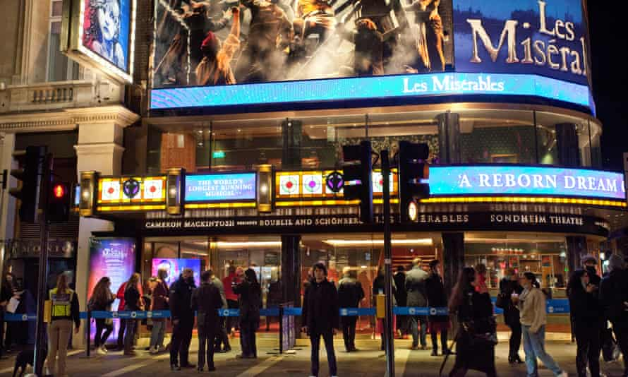 The scene outside the Sondheim Theatre in London on Friday night.