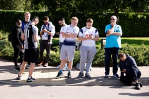 Fans mill about outside the training centre.