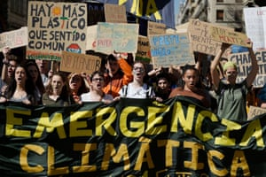 Young people take part in the worldwide climate strike in Barcelona, Spain