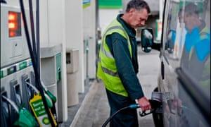 BP petrol station on the Hampstead Road, London.