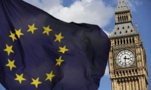 European Union flag flies in front of Big Ben, in London