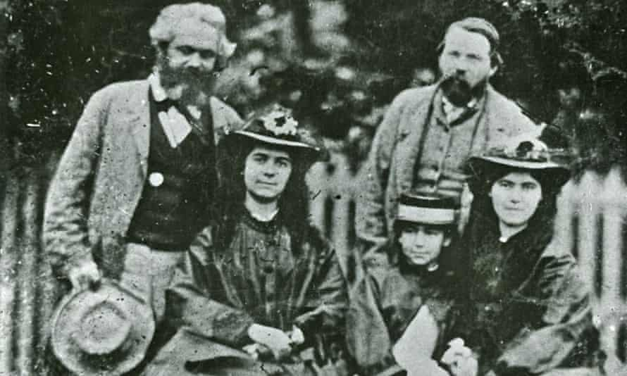 Karl Marx, Friedrich Engels and daughters Jenny, Eleanor and Laura Marx, 1864.