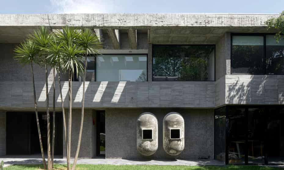 A view of the concrete house from the garden.