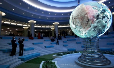 An illuminated globe at the Sci-Tech Complex in Pyongyang. Space officials are hard at work on a five-year plan to put more advanced satellites in to orbit.