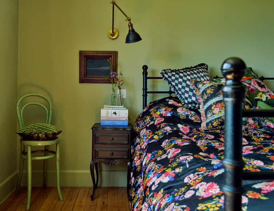 The guest bedroom in the home of fashion designers Justin Thornton and Thea Bregazzi in Walberswick, Suffolk