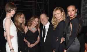 Harvey Weinstein at the 2014 Cannes film festival with (l-r) Coco Rocha, Katharina Damm, Caroline Scheufele, Natasha Poly and Selita Ebanks.