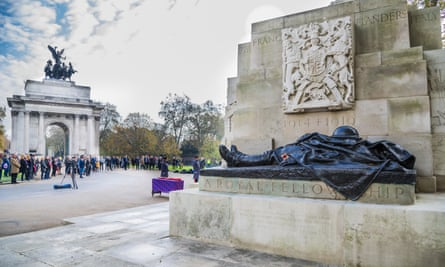 The Royal Artillery Regiment holds its annual remembrance day service at their war memorial at Hyde Park Corner, London.