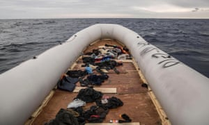 Personal belongings on a rubber boat
