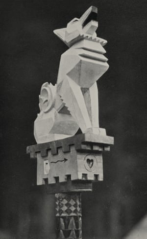 The carving on White Fox's totem staff, c.1928.