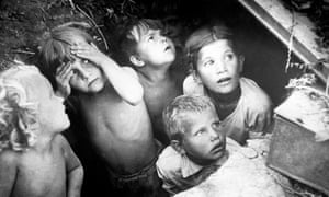 Russian children hiding in an air raid shelter during attacks on the eastern front, July 1941
