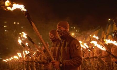 Members of ultra-nationalist paramilitary  group Azov