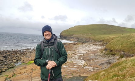 Jonny Bealby hiking in the Orkneys