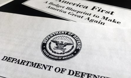 A portion of President Donald Trump's first proposed budget, focusing on the Department of Defense