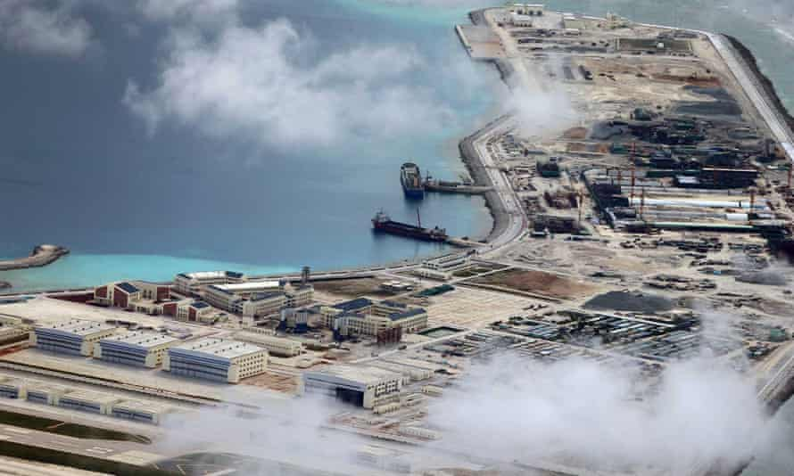 An aerial picture of Chinese construction activities in the South China Sea