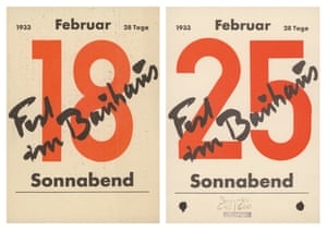 The two final Bauhaus celebrations were held on 18 and 25 February 1933. All the rooms were decorated for these large-scale public carnival celebrations. Kandinsky, Feininger, Albers and also Marcks, Georg Kolbe, Fernand Léger, Picasso and many other famous artists had donated works for a tombola which aimed to raise money for the Bauhaus. The two invitation cards were designed by the American Bauhaus student Bertrand Goldberg