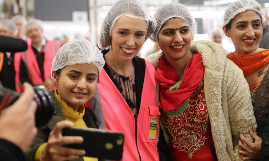 Prime Minister Jacinda Ardern meets and talks to staff during a visit to a factory in Tauranga