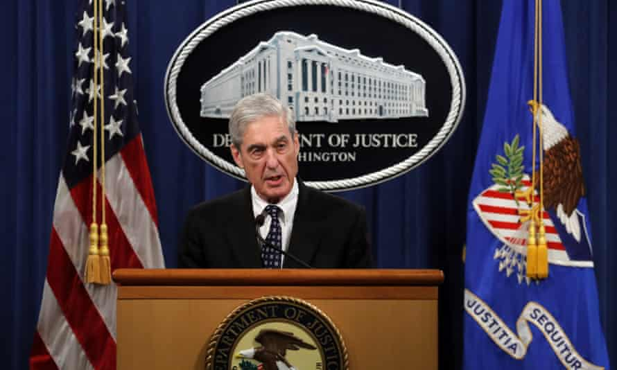 Robert Mueller speaks at the Department of Justice on 29 May in Washington, about the Russia investigation.