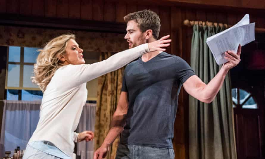 Emilia Fox as Olivia and Theo James as Ethan in Sex With Strangers at Hampstead theatre.