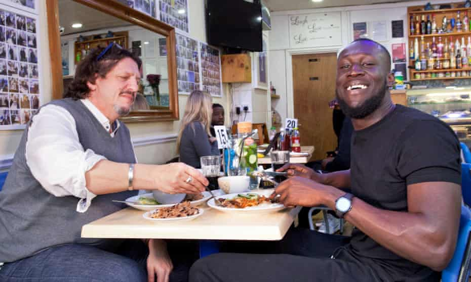 'I leave Stormzy in charge of over-ordering': Jay Rayner and Stormzy at the Bluejay Cafe, South Norwood.
