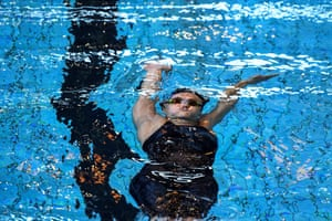 Rennes, FranceFrench swimmer Beryl Gastaldello competes in the women's 100m backstroke final during the national swimming championships.