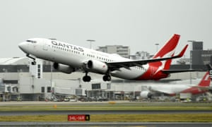 A Qantas plane takes off from the Sydney airport