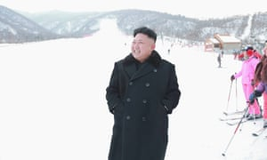 Kim Jong-un visits the newly completed ski resort in the Masik Pass region, 31 December 2013.