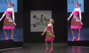 French TV Host Sandrine Arcizet presents a chocolate studded dress