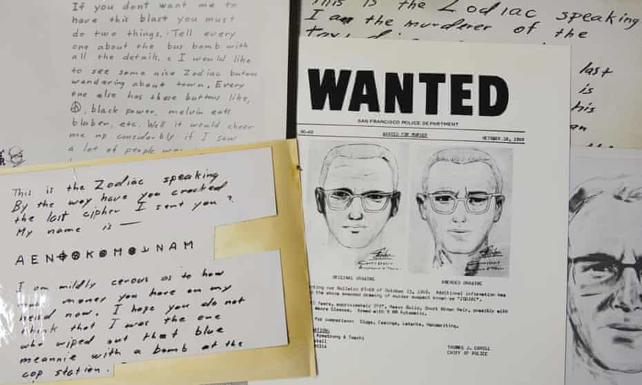 A San Francisco wanted bulletin and copies of letters sent to the San Francisco Chronicle by a man who called himself Zodiac.