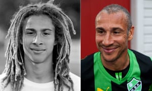 Henrik Larsson, the Hogaborg years: as a 19-year-old in 1991, and returning in 2013 to play alongside his son, Jordan.