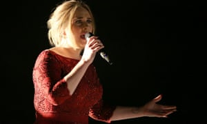 Adele performs at the 58th annual Grammy Awards .