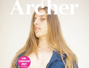 """Tilly Lawless on the cover of Archer Magazine, with an """"uncensor me"""" sticker over an exposed nipple."""