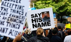 Protesters rally against the death of George Floyd in Portland, Oregon, on 31 May.